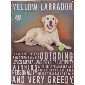 Tractorfreak Bord Yellow Labrador - TTF0128 | Tin (Metaal) | 300x400 mm