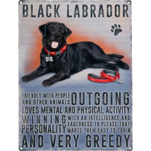 Tractorfreak Bord Black Labrador - TTF0129 | Tin (Metaal) | 300x400 mm