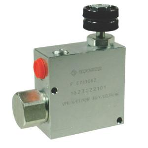 "Walvoil 3-Weg stroomr.vent. 90-50 St. - VPR3ET10001ST | Grofafstelling | 1/2"" BSP | Handwiel | 6,5 mm | 90 l/min | 0 50 l/min"