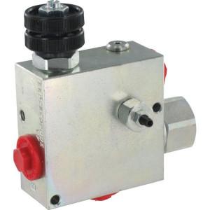 "Walvoil 3-Weg stroomr.vent. 90-50 St. - VPR3ET10004ST | 3/8"" 1/2"" BSP | Grofafstelling | 1/2"" BSP | with relief valve | Handwiel | 6,5 mm | 90 l/min | 180 350 bar | 90 l/min | 0 50 l/min"