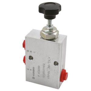 "Walvoil Reduceerventiel V B 3/8 - VRPRL05002 | Aluminium | tot 50 l/m | 100 mm | 143,5 mm | Handwiel | 20 l/min | 3/8"" BSP | 40 110 bar"