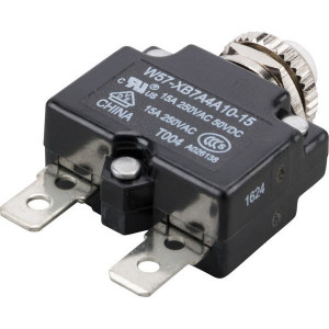 Thermische circuitonderbreker - W57XB7A4A1015   Vlaksteker, 6.3 x 0.8   250V AC