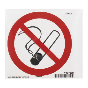 Brady Sticker verbod 100mm roken - WB250001L | Sticker | 100 mm