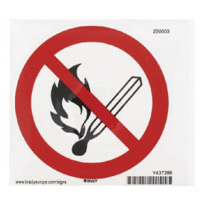 Brady Sticker verbod 100mm vuur - WB250003L | Sticker | 100 mm