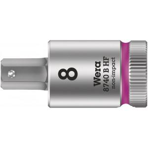 """Wera 8740 B HF Binnenzeskant Zyklop Bitdop met 3/8""""-aandrijving met vasthoudfunctie, 8 x 100 mm - 05003040001"""