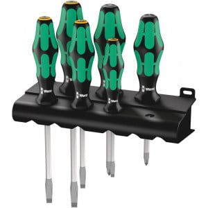 Wera 334/355 SK/6 Schroevendraaierset Kraftform Plus Lasertip + houder, 6-delig - 05007681001