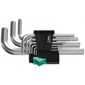 Wera 950/9 Hex-Plus 5 Stiftsleutelset, metrisch, verchroomd, 9-delig - 05021406001