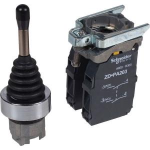 Schneider-Electric Joystick,4 richt., gearreteerd - XD4PA14 | Compleet met contacten | 0,5 A DC-13 24V | 1*10E6 schakelingen | 2x 1,5 mm² mm2 | 4 A AC-15 24V